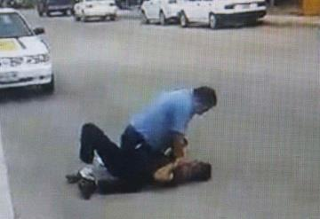 Taxista e usuario pelean en pleno centro de Frontera, Tabasco