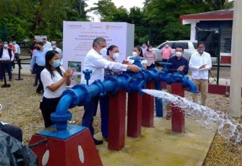 Autoridades inauguran la construcción de captación de agua potable en Cunduacán